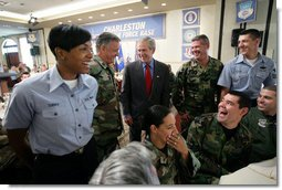 President George W. Bush spends time meeting with military personnel at a luncheon Tuesday, July 24, 2007, during the President's visit to Charleston AFB in Charleston, S.C. White House photo by Eric Draper